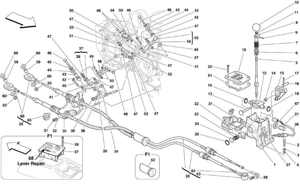 ferrari-360-outside-gearbox-controls-parts-diagram