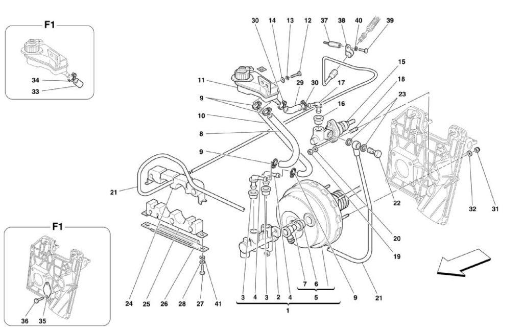 ferrari-360-modena-non-rhd-brakes-and-clutch-hydraulic-control-parts-diagrams