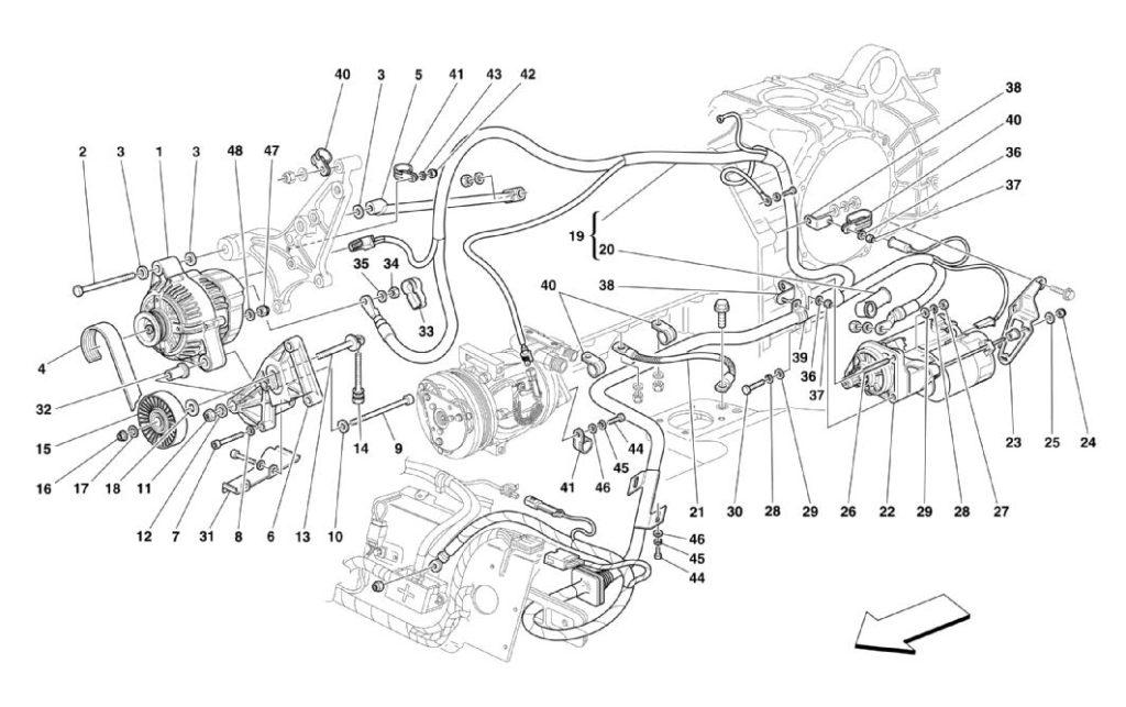 ferrari-360-modena-alternator-and-starter-parts-diagram