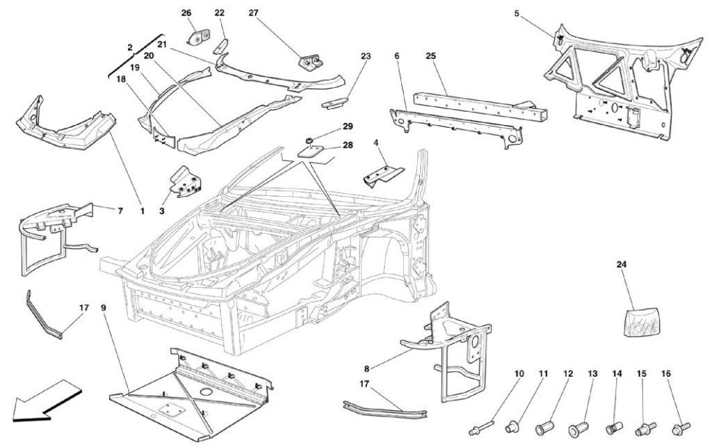 ferrari-360-modena-frame-structures-and-plates-parts-diagram