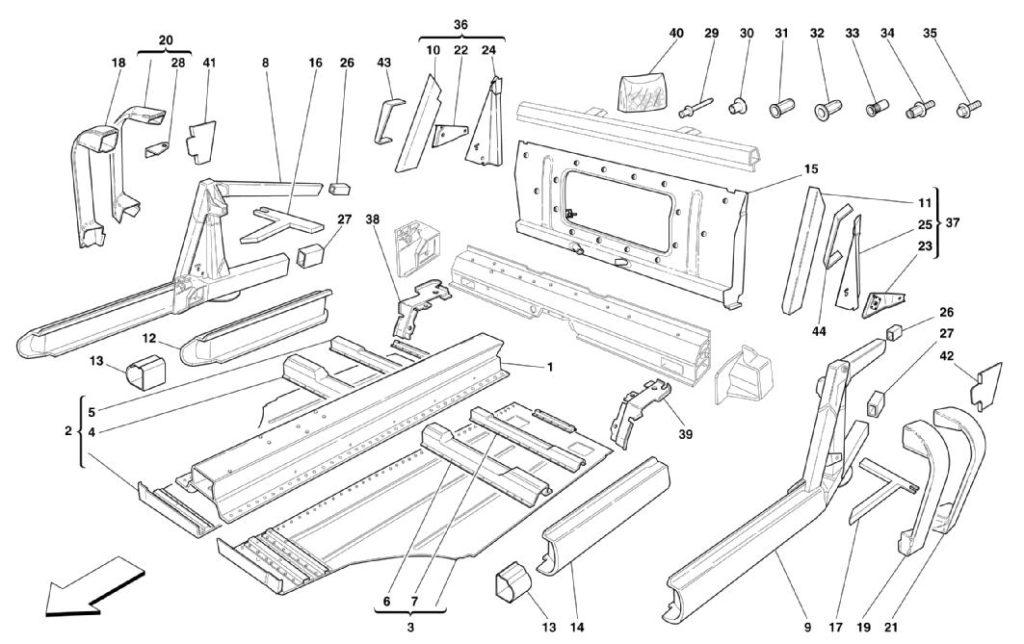 ferrari-360-modena-frame-central-elements-parts-diagram