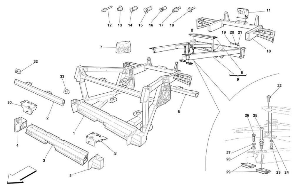 ferrari-360-modena-frame-rear-elementsparts-diagram