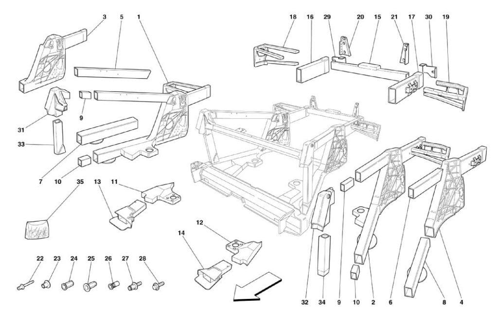Ferrari-360-modena-rear-frame-elements-sub-groups-parts-diagram