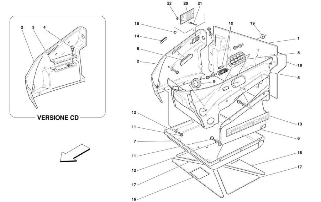 ferrari-360-front-compartment-trim-parts-diagram