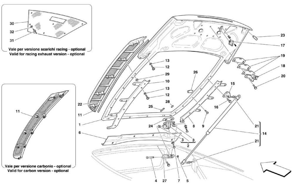 Ferrari-360-modena-engine-bonnet-parts-diagram
