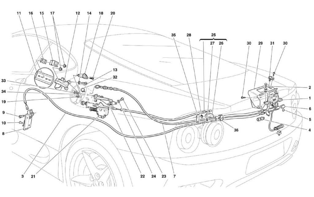 ferrari-360-modena-engine-latch-and-gas-door-parts-diagram