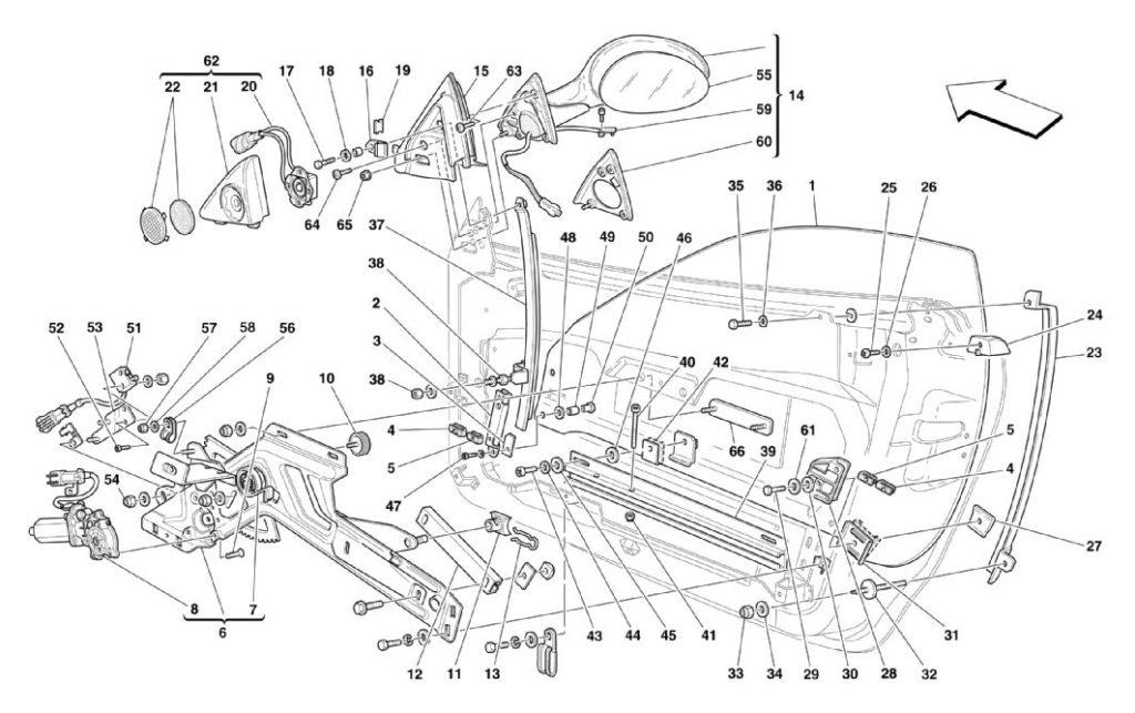ferrari-360-modena-power-windows-and-rearview-mirror-parts-diagram