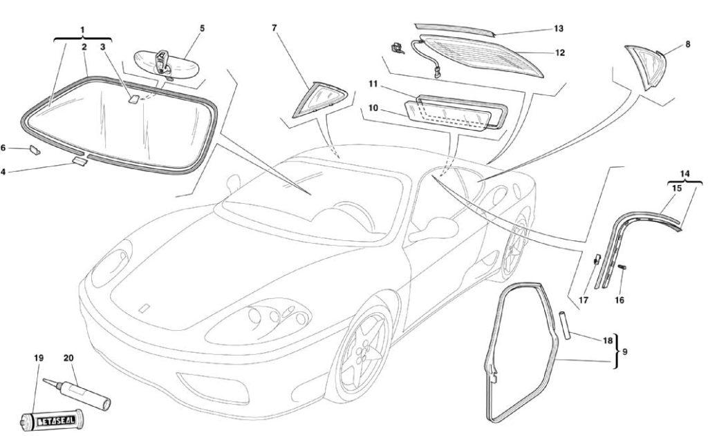 ferrari-360-modena-glass-and-gaskets-parts-diagram