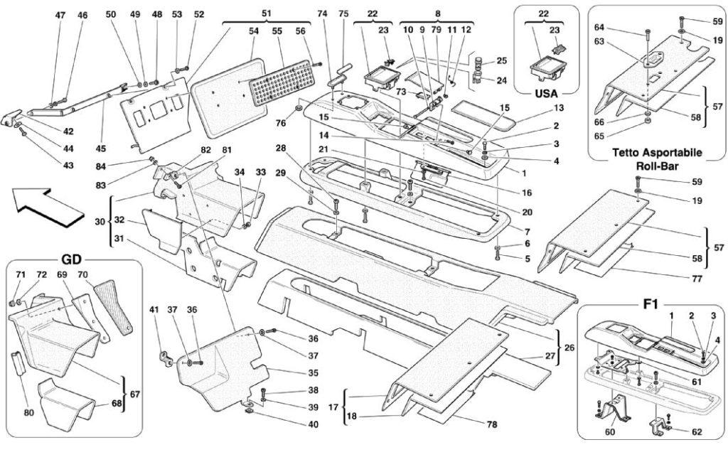ferrari-360-modena-center-console-parts-diagram