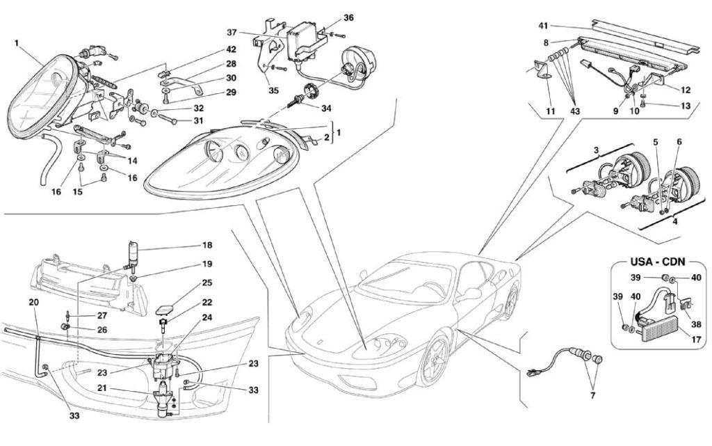 ferrari-360-modena-front-and-rear-lights-parts-diagram